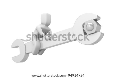 3d person sit on spanner - stock photo