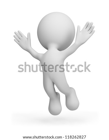 3d person soars upward with delight. 3d image. Isolated white background. - stock photo