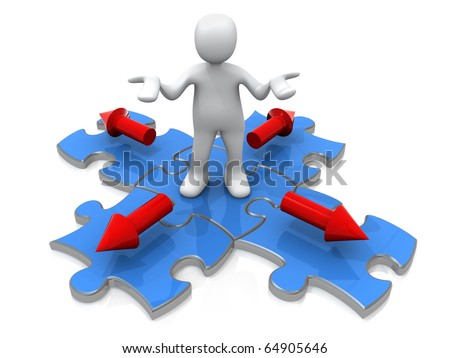 3d person standing on a jigsaw puzzle with arrow pointing in four directions. - stock photo