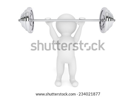3d Person the lifting weight on a white background - stock photo
