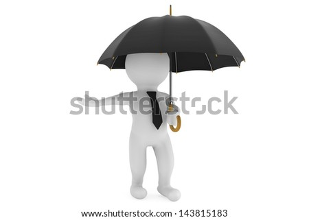 3d person under the protection umbrella on a white background - stock photo