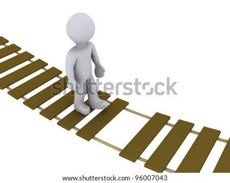 3d person walking on a damaged suspension bridge - stock photo