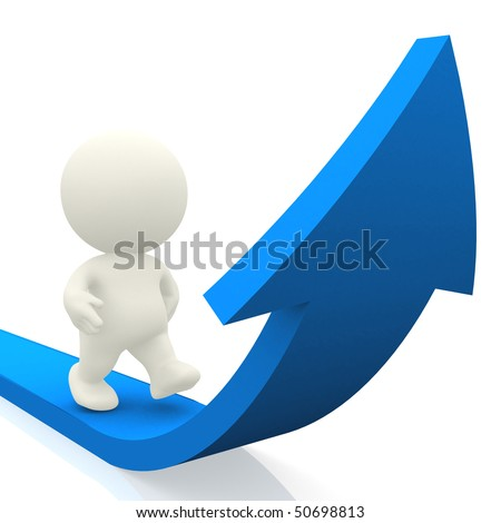 3D person walking on curved arrow isolated over a white background - stock photo