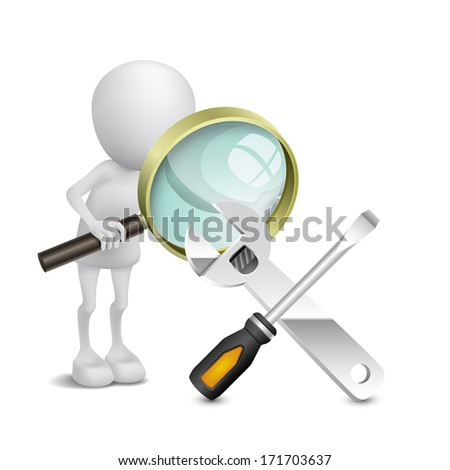 3d person watching a screwdriver and a wrench with a magnifying glass - stock photo