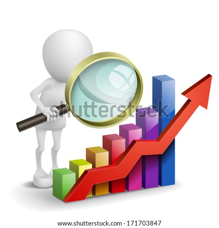 3d person with a graph financial and a magnifier - stock photo