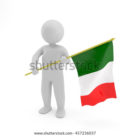 3D person with a Italian flag in a hand Isolated on white background, Italy, Sport games, National anthem illustration - stock photo