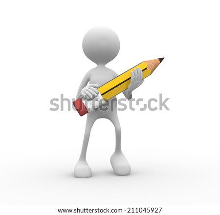 3d person with a pencil - stock photo