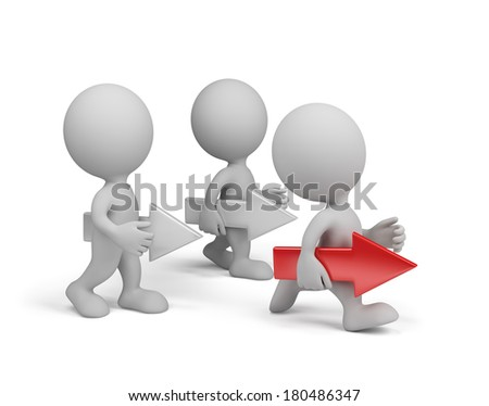 3d person with a red arrow goes to the goal. 3d image. White background. - stock photo