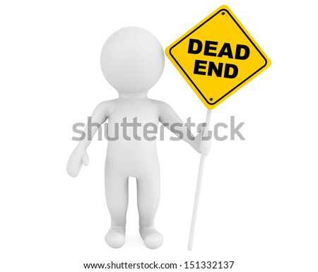 3d person with Dead End traffic sign on a white background - stock photo