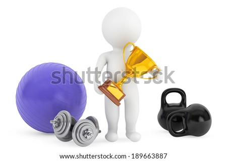 3d person with fitness objects and trophy on a white background - stock photo