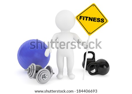 3d person with fitness sign on a white background - stock photo