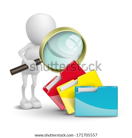 3d person with folders and a magnifying glass - stock photo