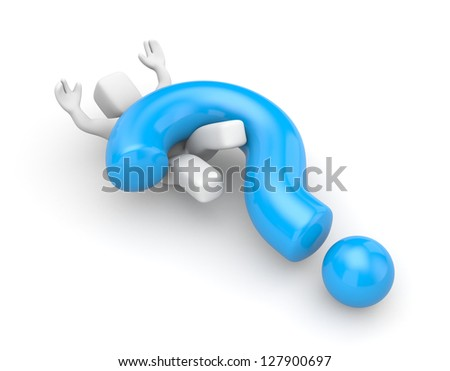 3d person with heavy blue question mark - stock photo