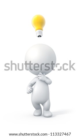 3D Person with Idea. High Resolution 3D Illustration with Clipping Path. - stock photo