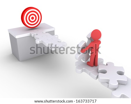 3d person with puzzle pieces is trying to reach a dartboard - stock photo