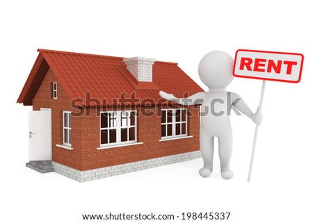 3d Person with Rent Banner and Brick House on a white background - stock photo