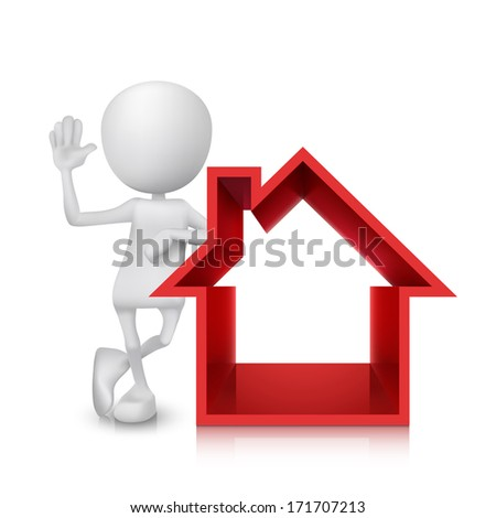 3d person with the house symbol - stock photo