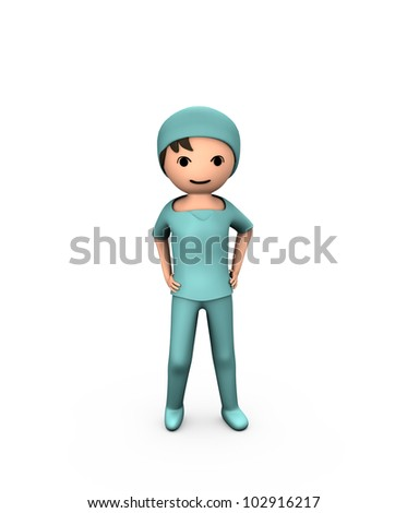 3D Person Young Doctor Wearing Scrubs on White - stock photo