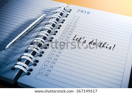 3d personal agenda and text, close up - stock photo