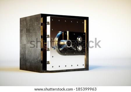 3d photo realistic image of safe deposit box  - stock photo