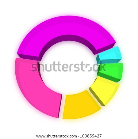 3D pie chart on white - stock photo