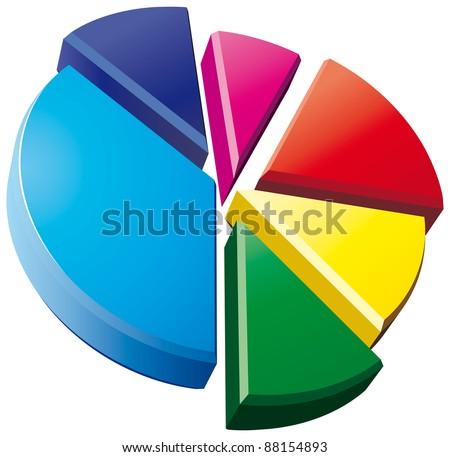 3D pie chart on white background - raster version - stock photo