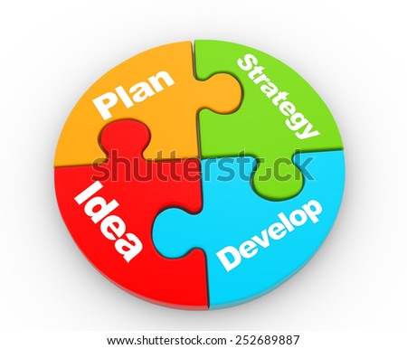3d  pieces of puzzle. Strategy concept - stock photo