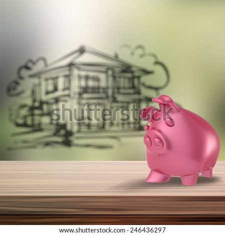 3d Piggy bank on wooden shelf with home blur background as concept - stock photo