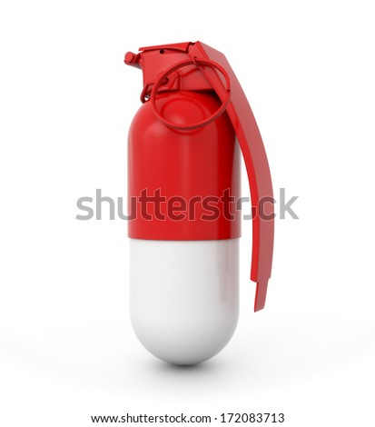 3d pill with grenade fuse - medical problem concept - stock photo