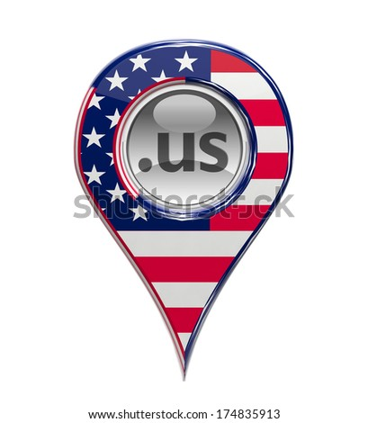 3D pin domain marker with American flag isolated - stock photo