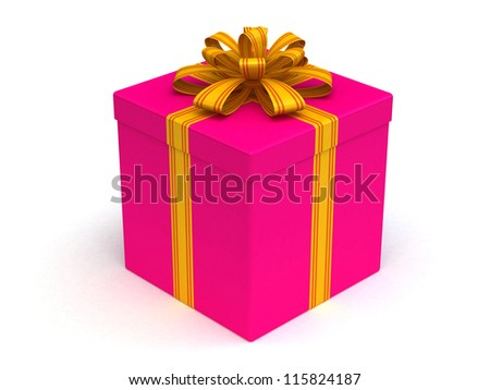 3D Ping Gift christmas box with yellow bow on the white - stock photo
