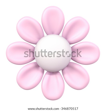 3D Pink flower Plasticine modeling clay, object isolated - stock photo