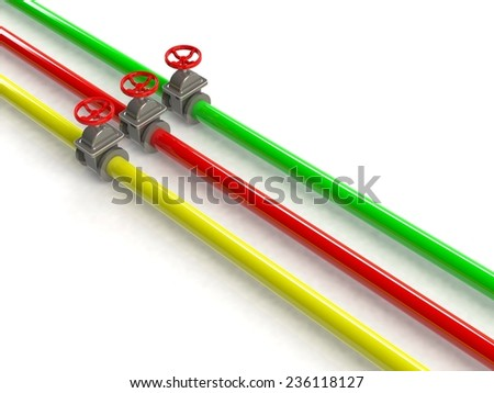 3d pipelines on white background - stock photo