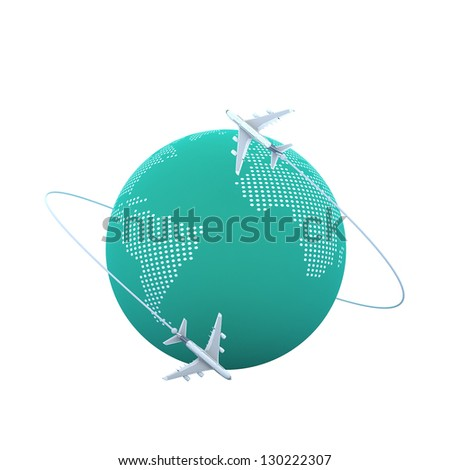3d Planes flying around the globe - stock photo