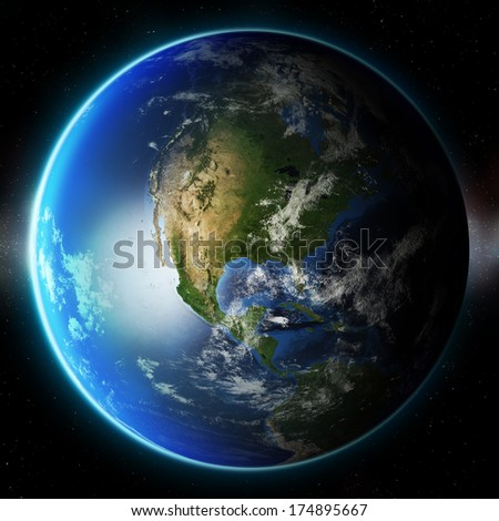 3D Planet Earth. Elements of this image furnished by NASA. Other orientations available.  - stock photo