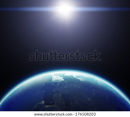 3D Planet Earth with Sun. Elements of this image furnished by NASA. - stock photo