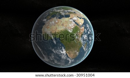 3d planet of earth showing africa and stars in background - stock photo