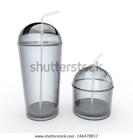3d plastic clear  cups and lids, tops and straws 2 sides for container drinks or beverage in isolated background with clipping paths, work paths included - stock photo