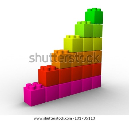 3d plastic colored chips on a white background - stock photo