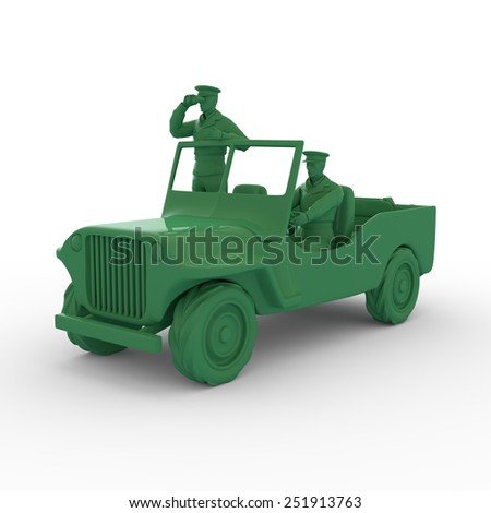 3D plastic toy auto and soldiers isolated - stock photo