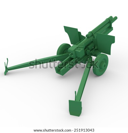 3D plastic toy cannon isolated - stock photo