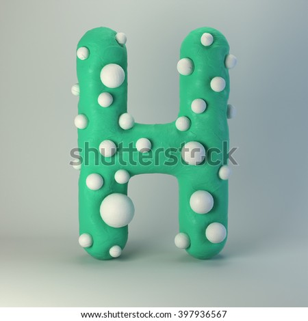 3d Plasticine handmade font. Cute cartoon children's style figures with white polka dots. Bright sea green uppercase letter H, isolated on white background. - stock photo