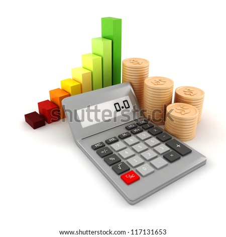 3d pocket calculator and coins, on white background - stock photo