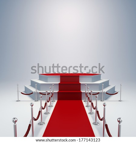3d podium and red carpet - stock photo