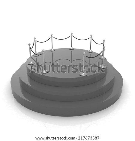 3D podium with handrail  - stock photo