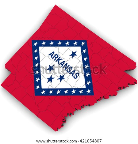 3d Political Map of Arkansas with Counties and State Flag - stock photo