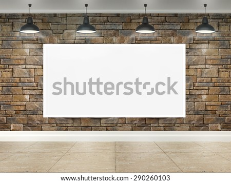 3d poster in room with ceiling lamps - stock photo
