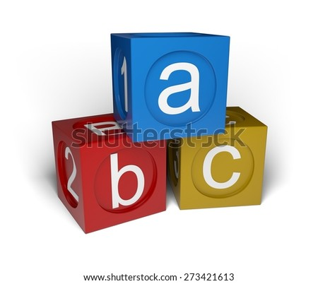 3D. Preschool, Toy, Block. - stock photo