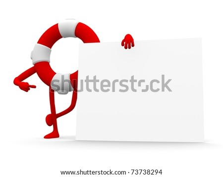 3d preserver standing near a blank board, add your content there - stock photo