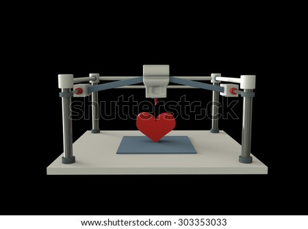 3d printer isolated on black background render illustration. - stock photo
